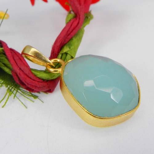 Aqua Chalcedony Gemstone Gold Plated Fancy Bezel Pendant