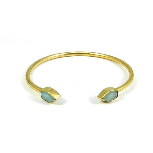 Aqua Chalcedony Gold Plated Bezel Set Adjustable Bracelet