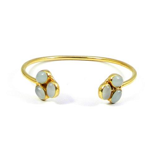 Aqua Chalcedony Gold Plated Bezel Set Handmade Adjustable Cuff Bracelet
