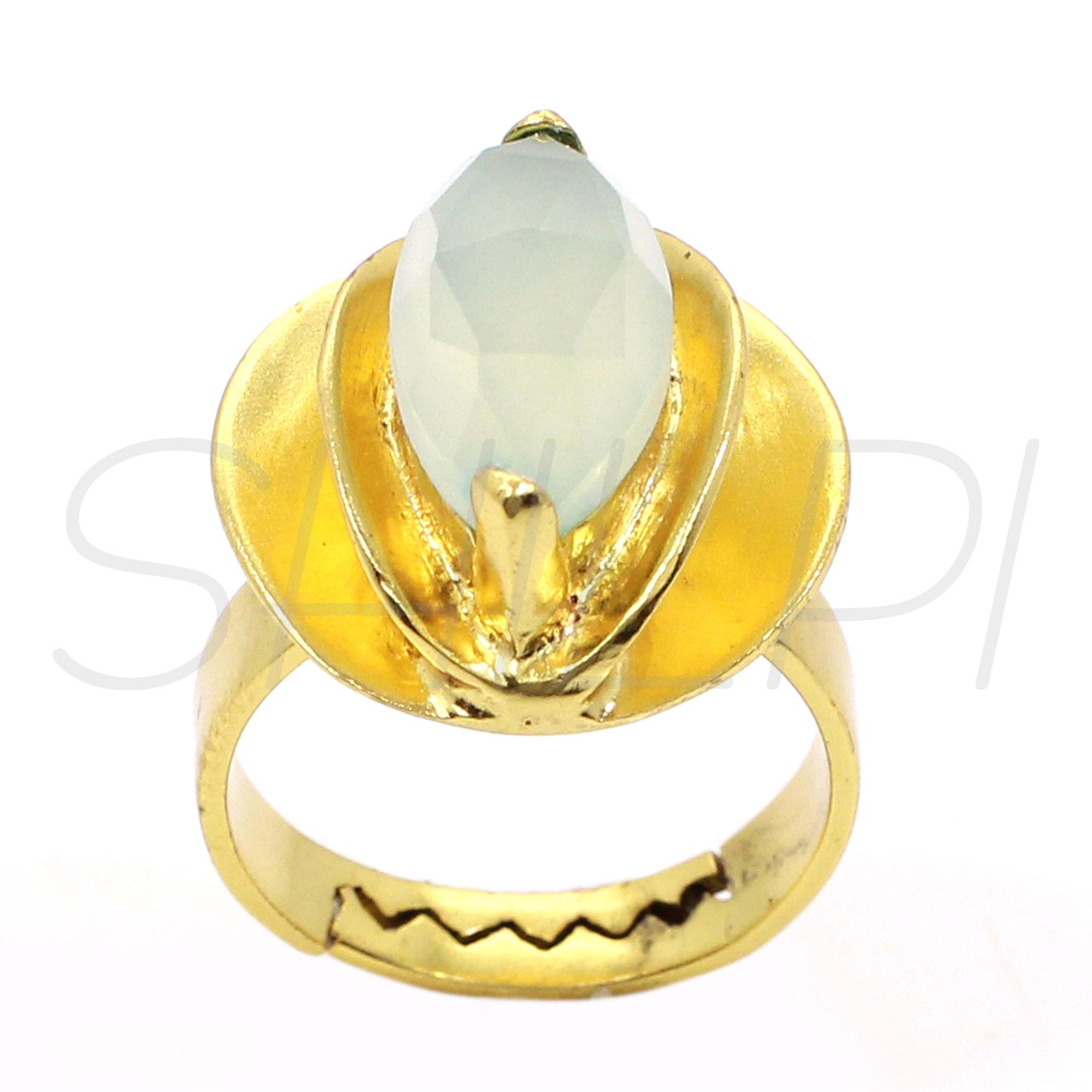 Aqua Chalcedony Gold Plated Handmade Adjustable Ring