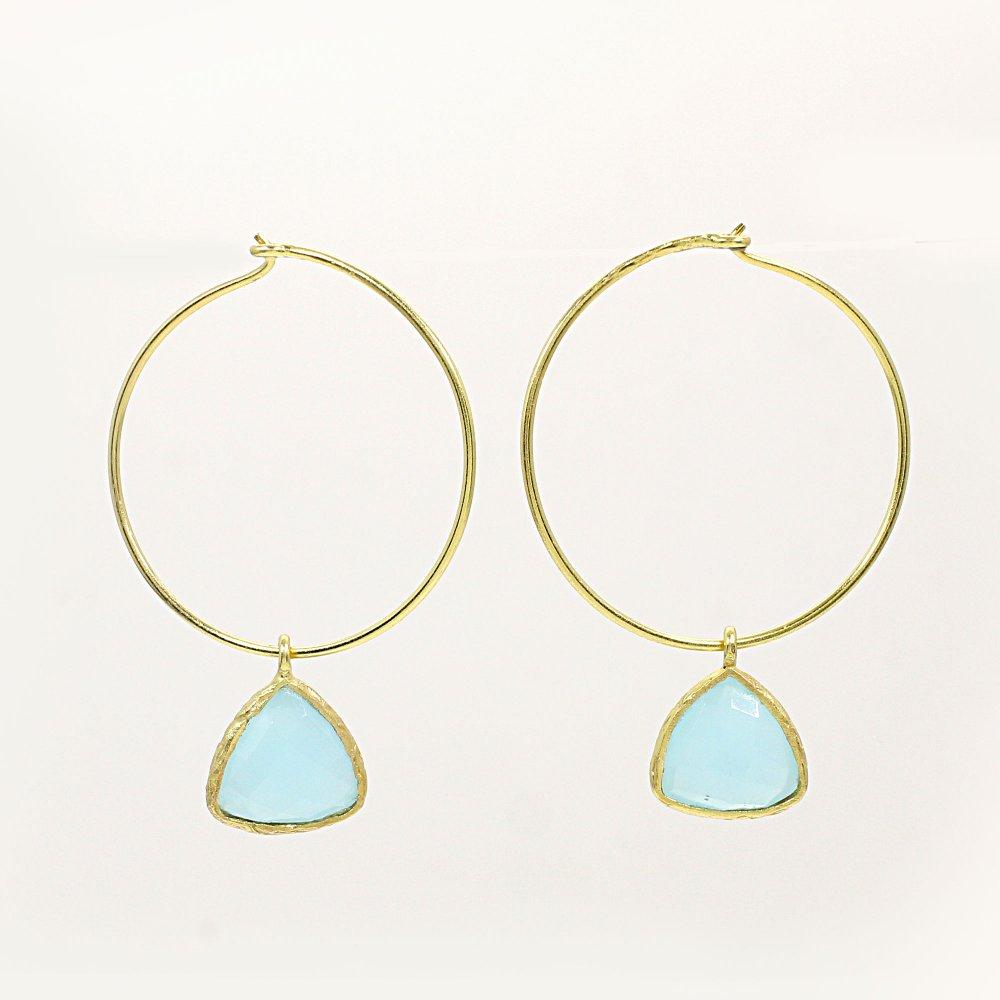 Aqua Chalcedony Gold Plated Hook Earrings