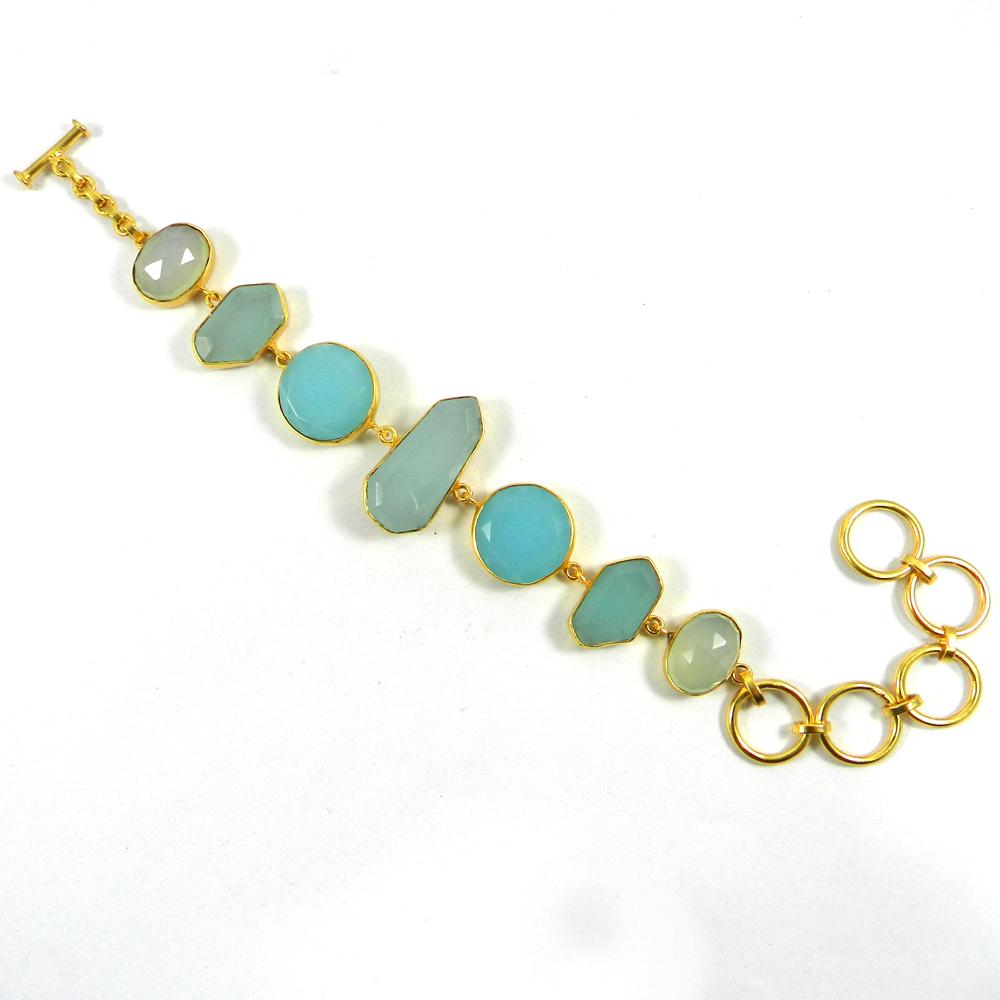 Aqua Chalcedony Gold Plated Link Chain Designer Bezel Bracelet