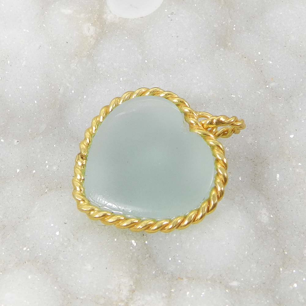 Aqua Chalcedony Heart Gold Plated Wire Wrapped Bezel Set Pendant
