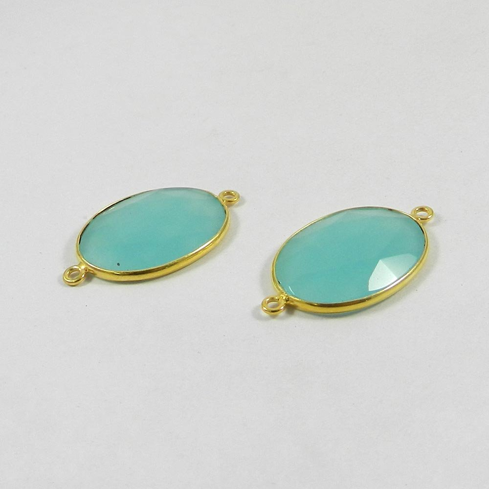 Aqua Chalcedony Oval 32x19mm 925 Sterling Silver Double Loop Connector