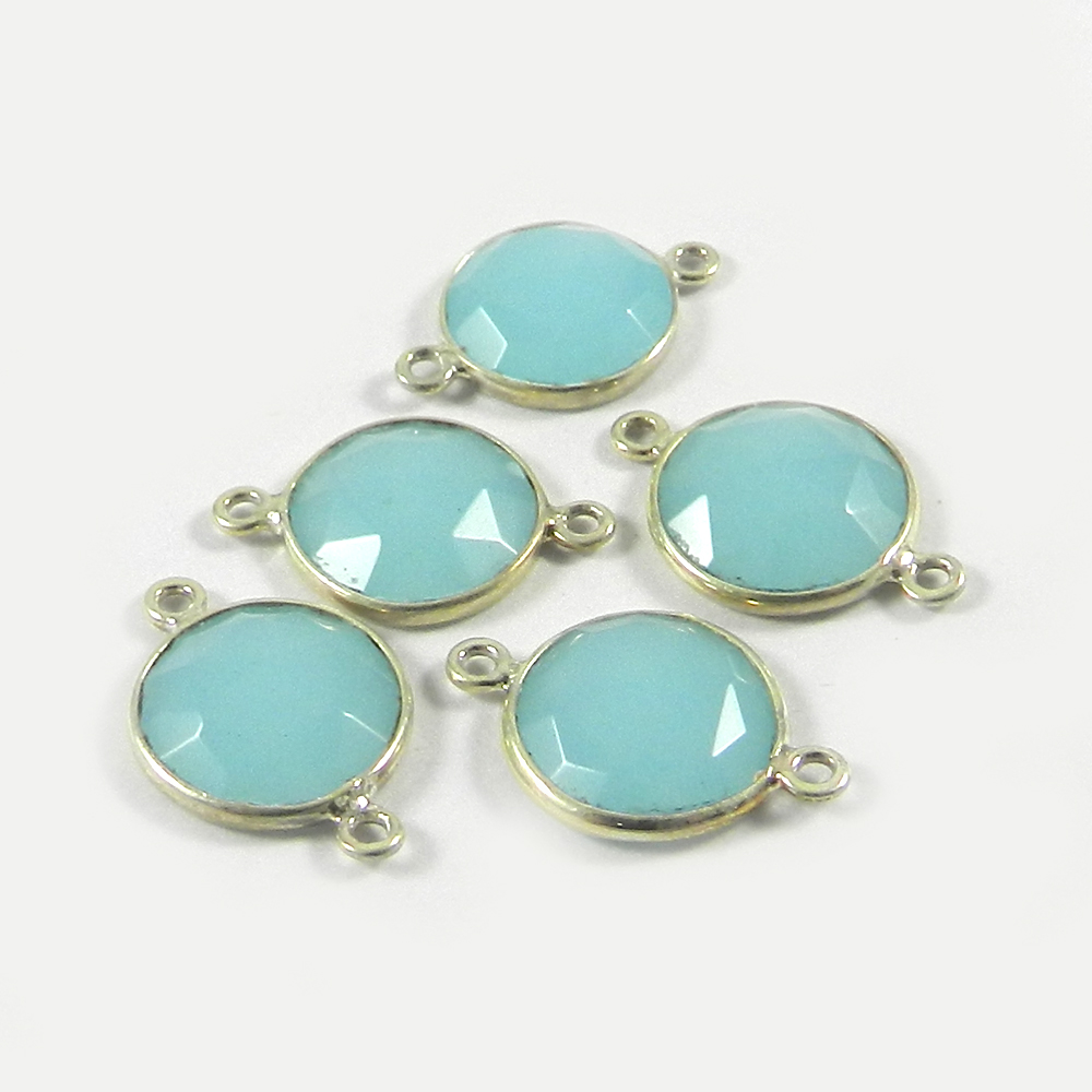 Aqua Chalcedony Round 19x12mm 925 Sterling Silver Double Loop Connector