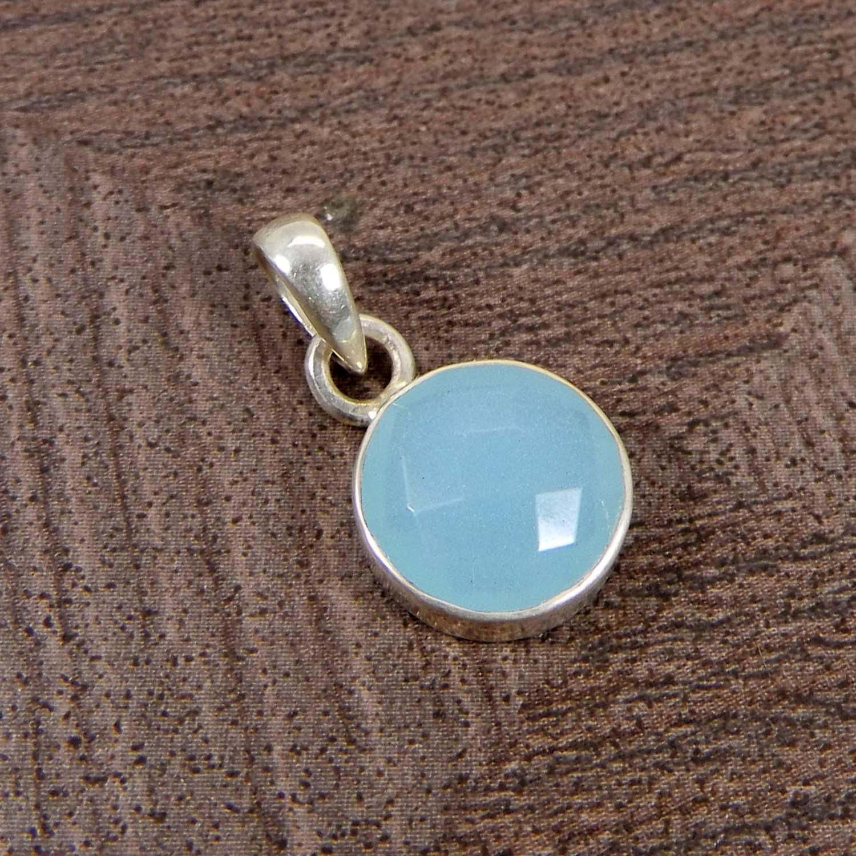 Aqua Chalcedony Round 925 Sterling Silver Bezel Set Pendant