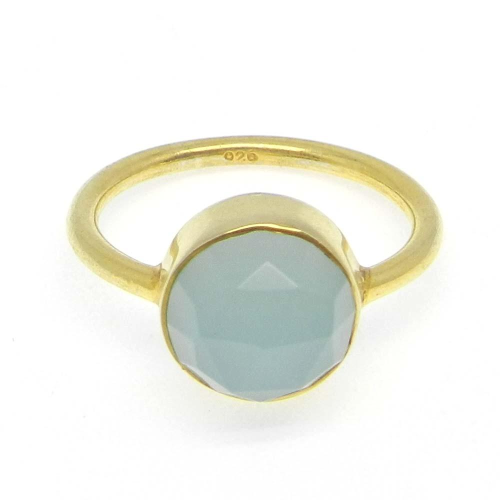 Aqua Chalcedony Silver Gold Plated Bezel Ring