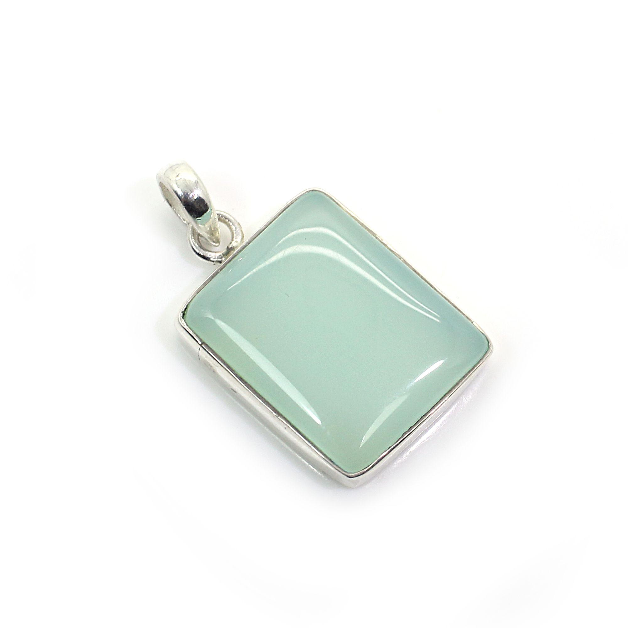 Aqua Chalcedony Silver Pendant
