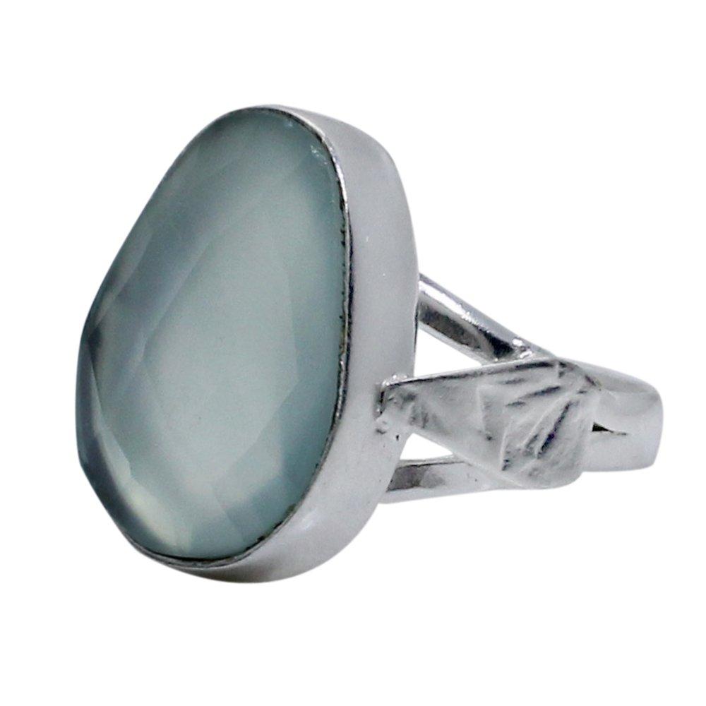Aqua Chalcedony Silver Plated Handcraft Bezel Set Ring