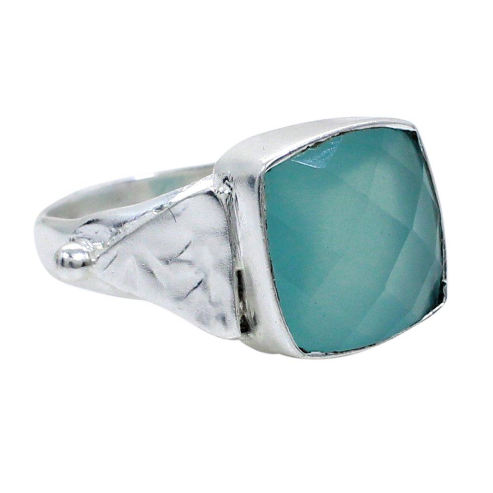 Aqua Chalcedony Silver Plated Handmade Bezel Set Ring