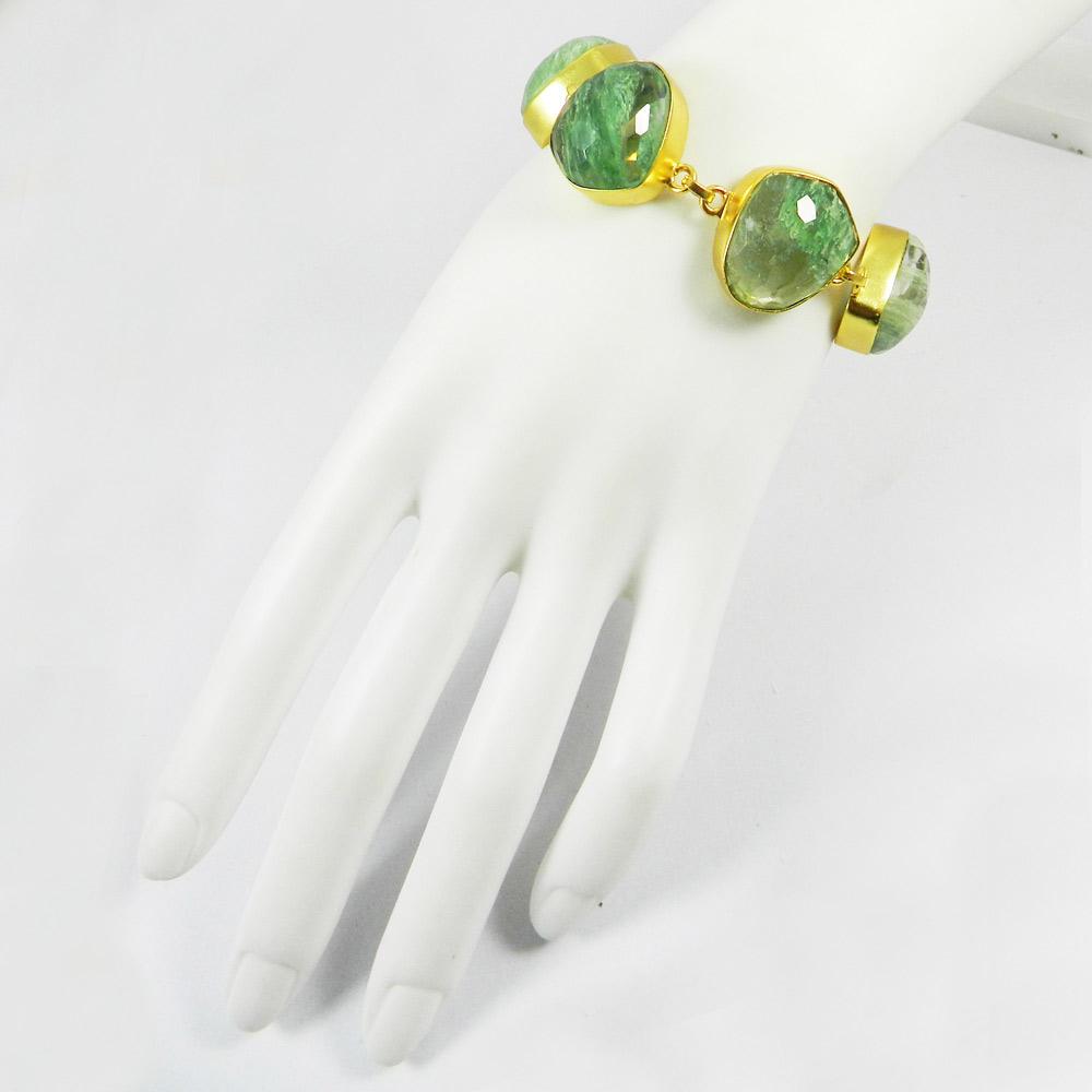 Aqua Crackle Glass Gold Plated Link Chain Designer Bezel Bracelet