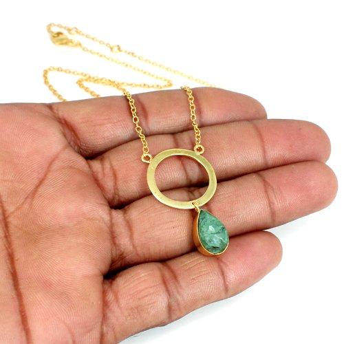 Aqua Crackle Glass Pendant Necklace Bezel Setting Chain Necklace Women Solitaire Necklace