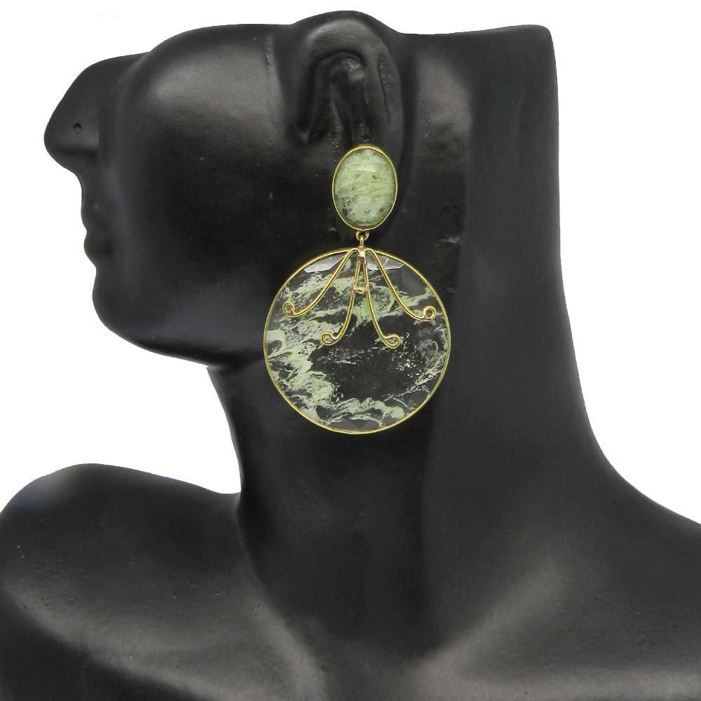 Aqua Crackle Glass Round Gold Plated Designer Stud Earring