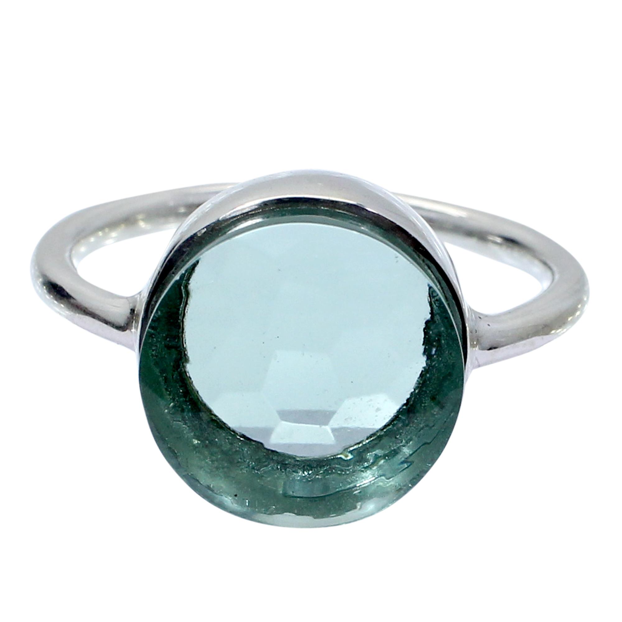 Aquamarine Hydro 925 Sterling Silver Handmade Bezel Set Simple Ring