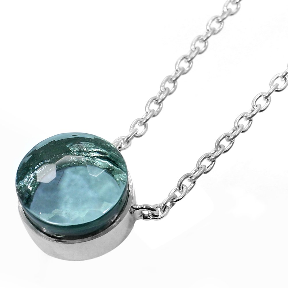 Aquamarine Hydro 925 Sterling Silver Long Chain Necklace