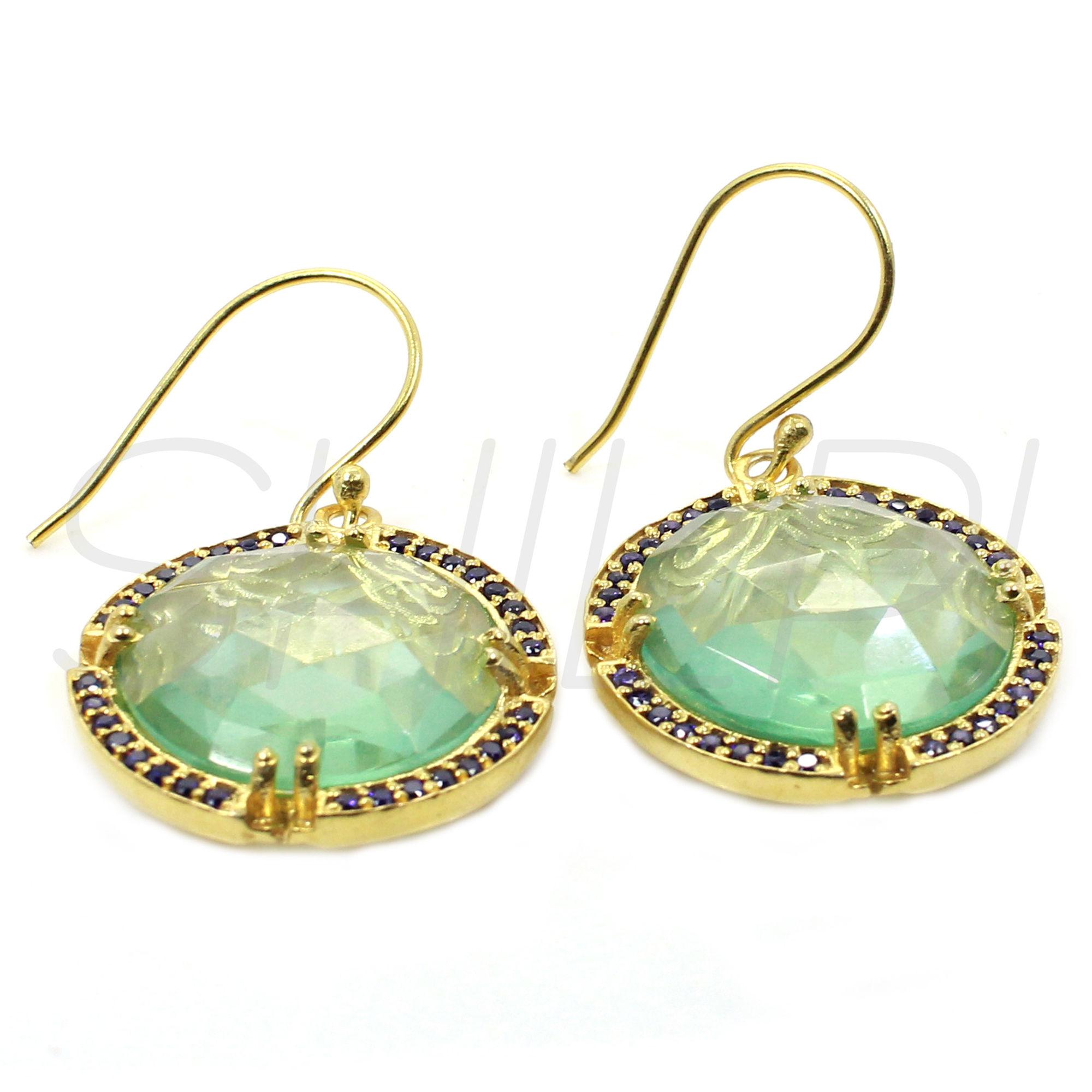 Aquamarine Hydro & Blue Cubic Zirconia Gold Plated Designer Dangle Earring
