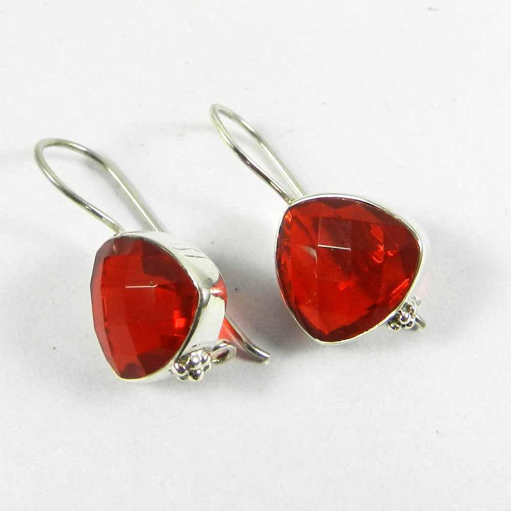 Arila Garnet Gemstone Silver Dangle Earring