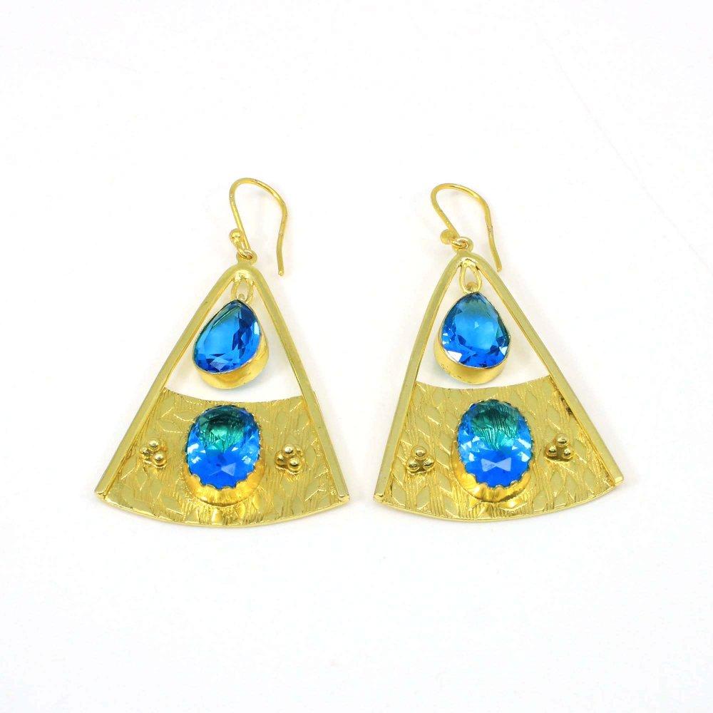 Attractive Blue Topaz Hydro Gemstone Handmade Textured Designer Gold Plated Dangle Earring