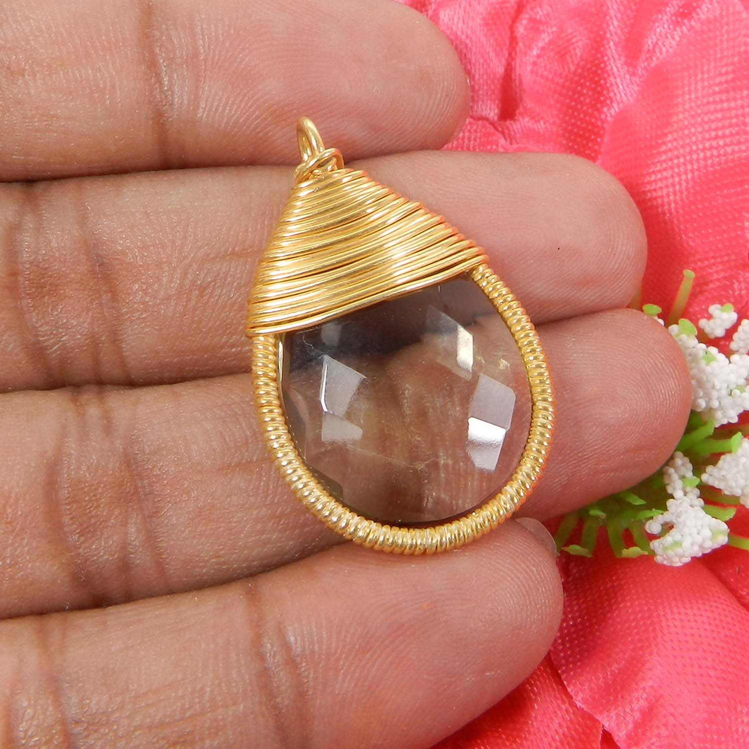Bailey Crystal Hydro Silver Wire Wrapped Designer Pendant