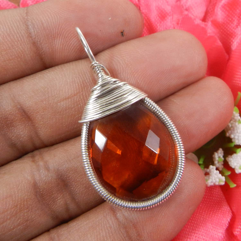 Bailey Dark Citrine Hydro Silver Wire Wrapped Designer Pendant