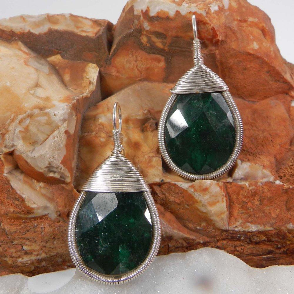 Bailey Emerald Corundum Silver Wire Wrapped Designer Pendant
