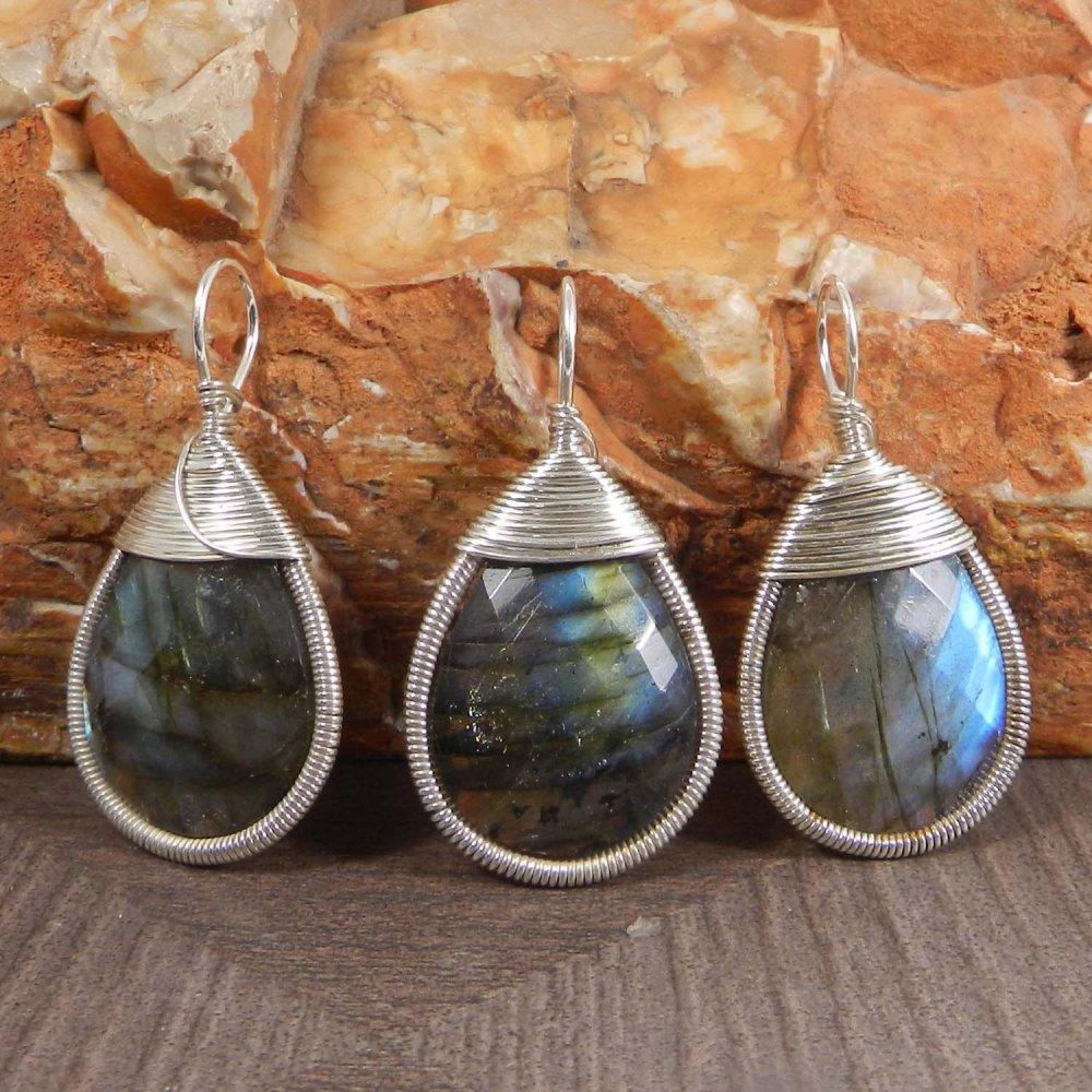 Bailey Fiery Labradorite Silver Wire Wrapped Designer Pendant