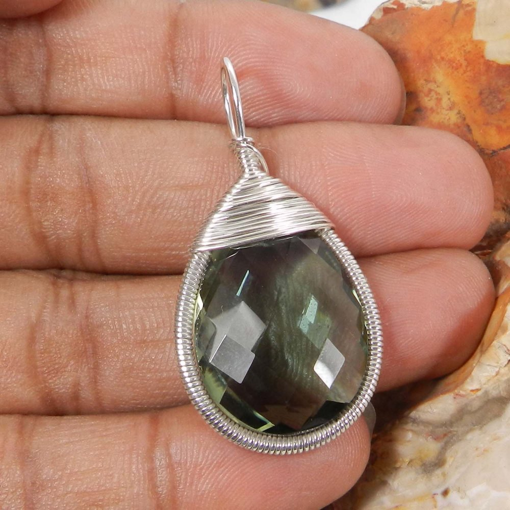 Bailey Green Amethyst Silver Wire Wrapped Designer Pendant