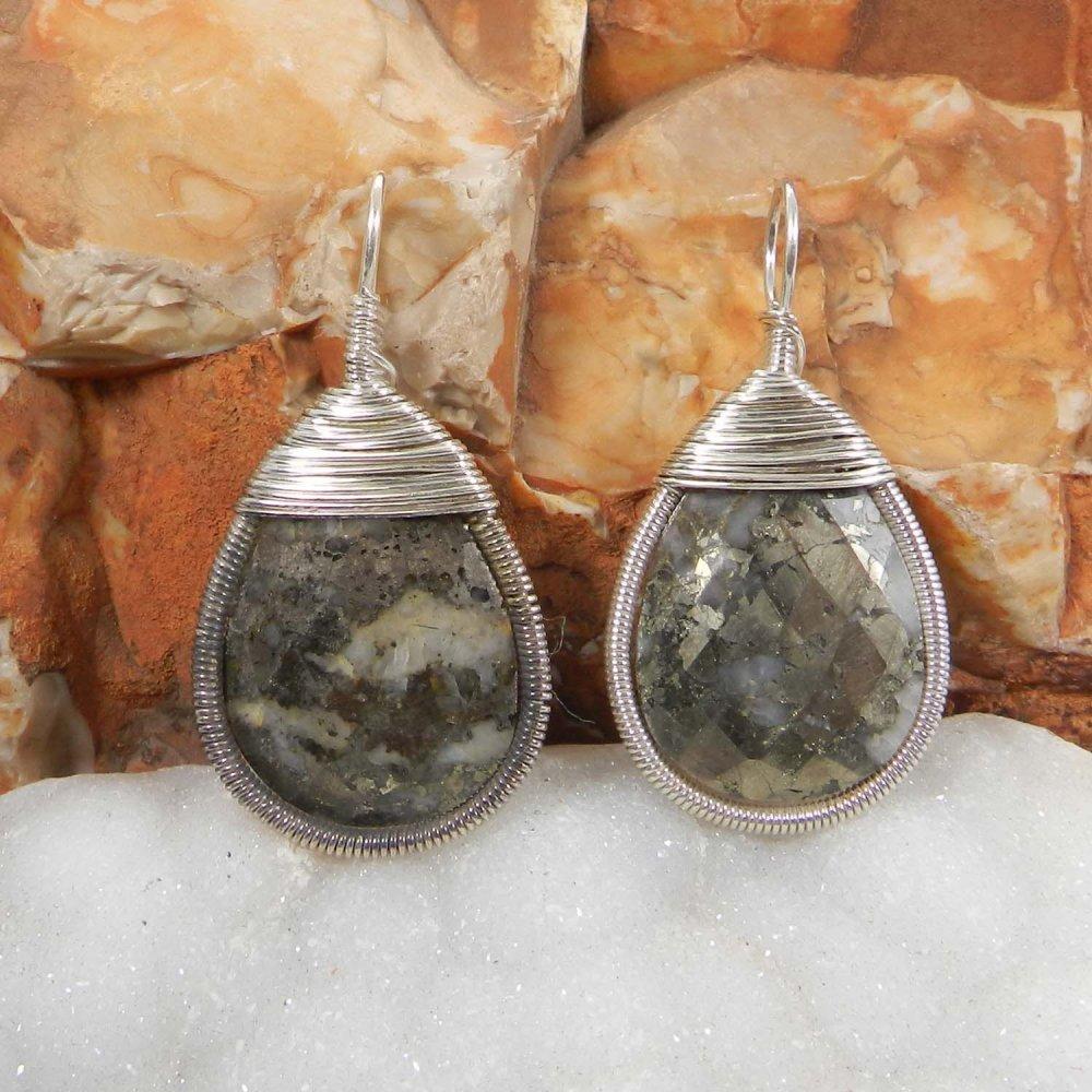 Bailey Marcasite Pyrite Silver Wire Wrapped Designer Pendant