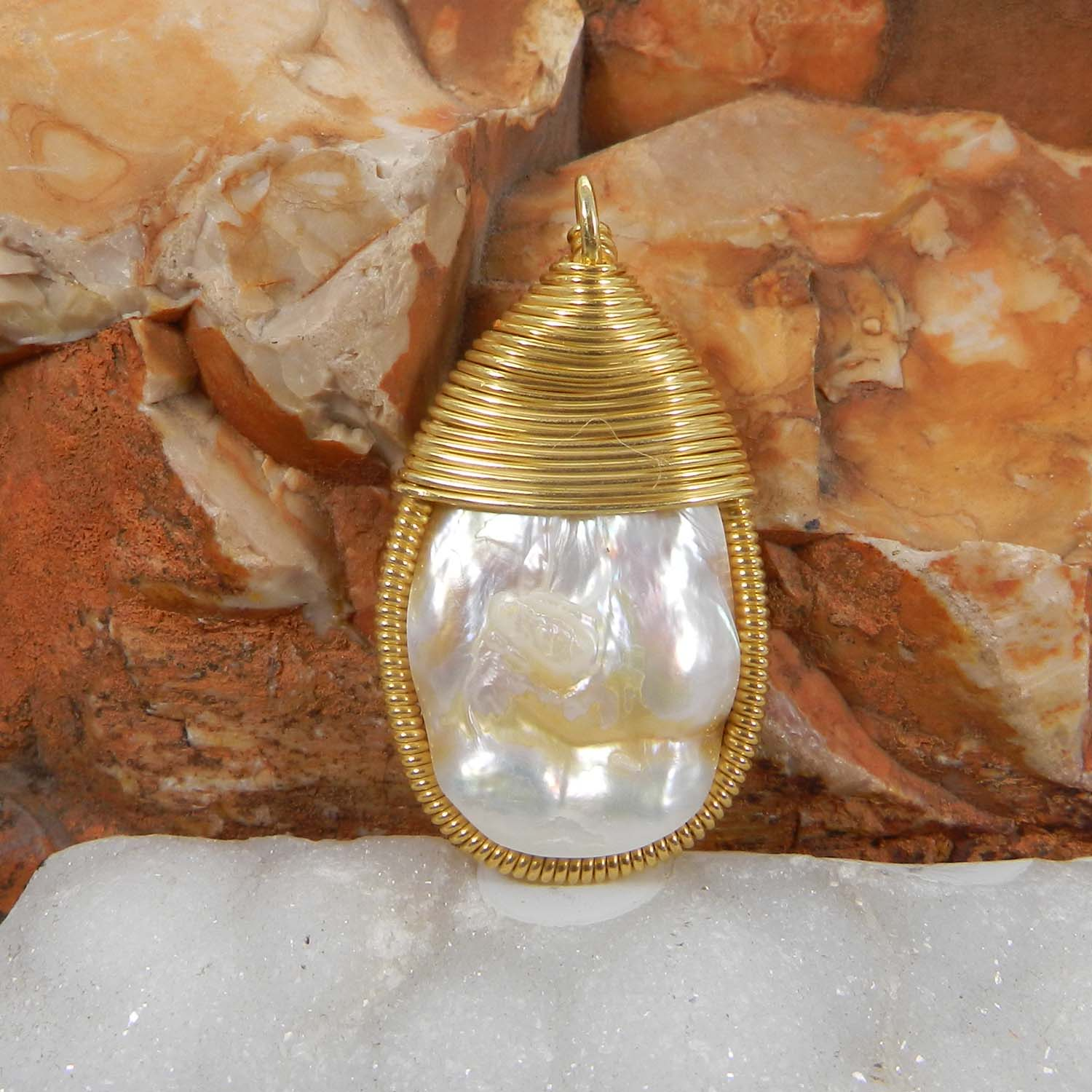 Bailey Natural Blister Pearl Silver Wire Wrapped Designer Pendant