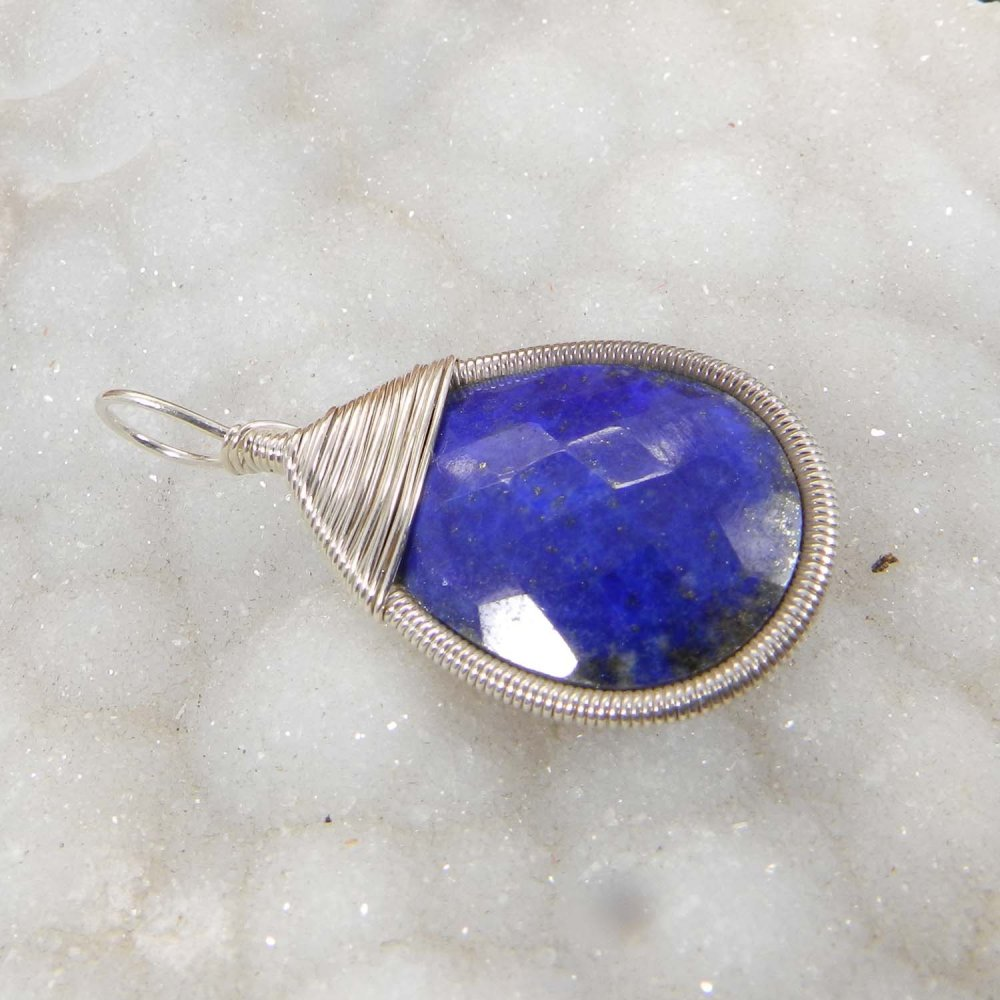 Bailey Natural Lapis Lazuli Silver Wire Wrapped Designer Pendant