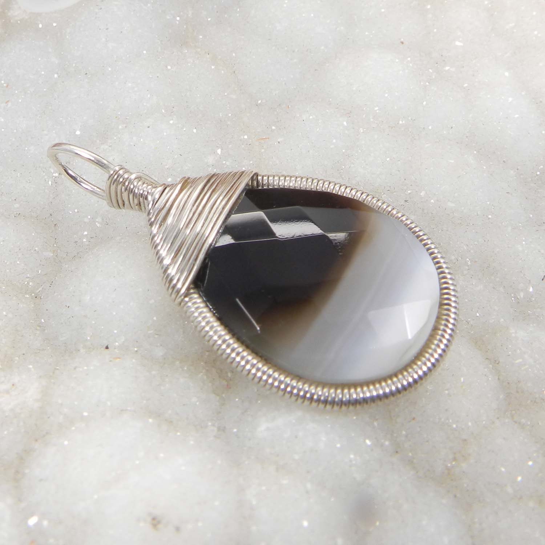 Bailey Natural Sardonyx Silver Wire Wrapped Designer Pendant