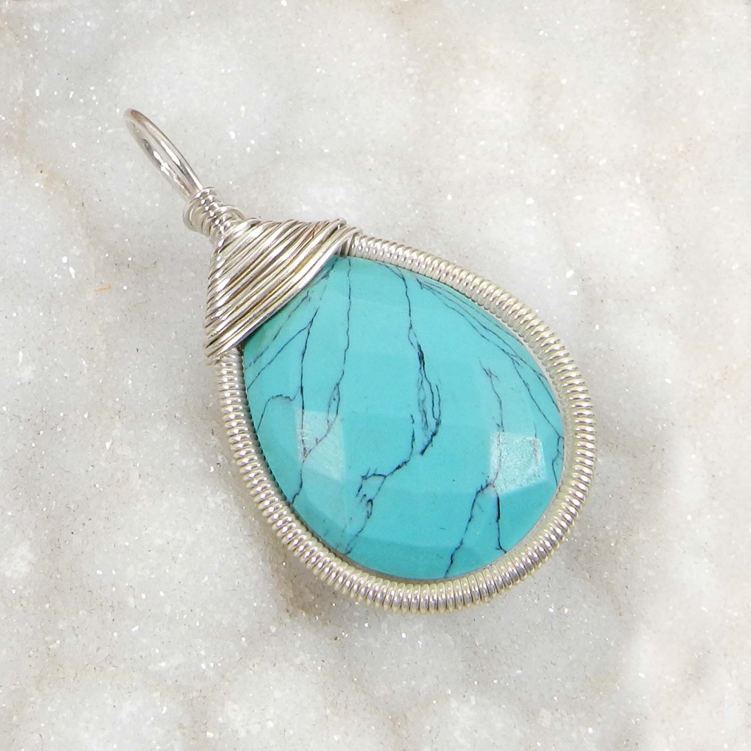 Bailey Synthetic Turquoise Silver Wire Wrapped Designer Pendant