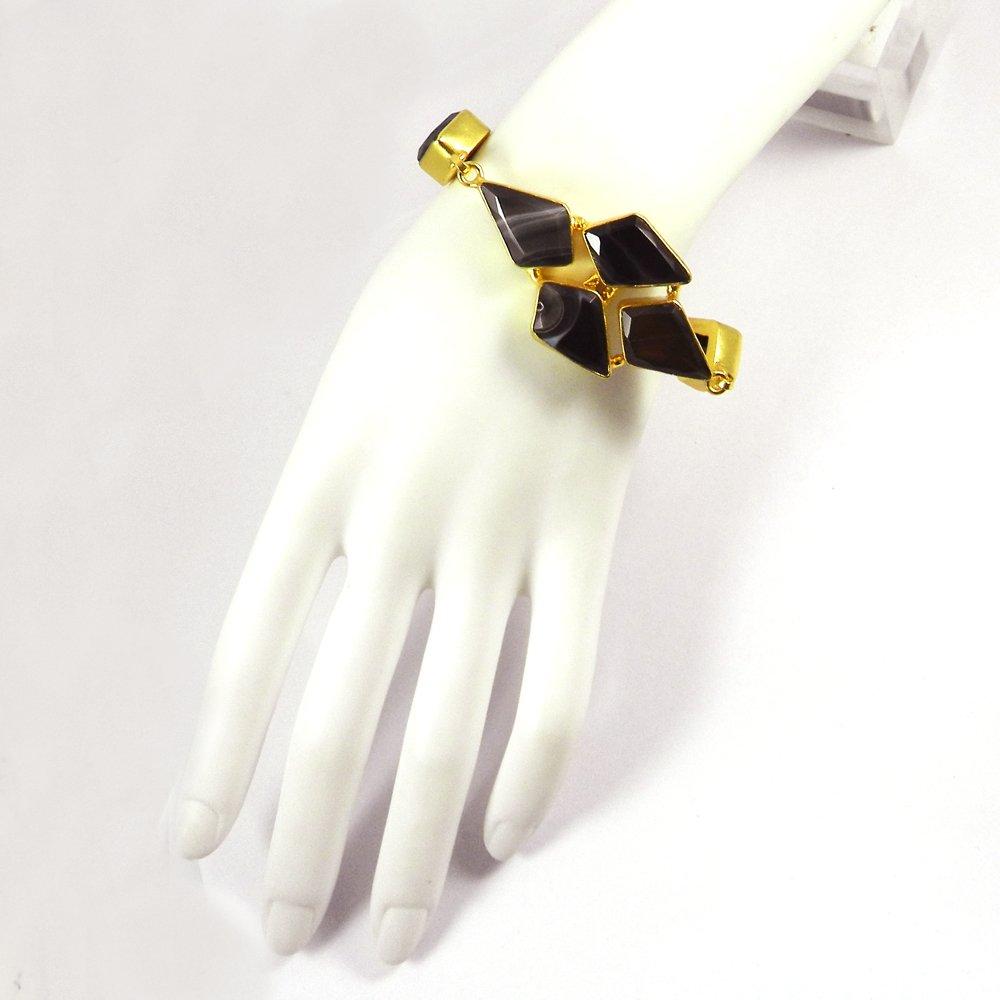 Banded Agate,Black Onyx Gold Plated Designer Link Chain Bracelet