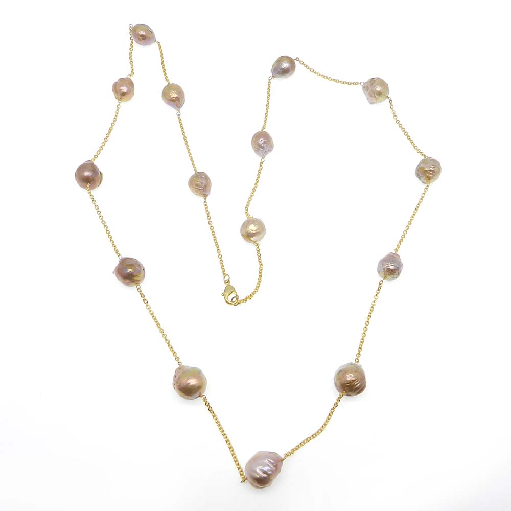 Baroque Pearl Beaded Gold Plated Link Chain Designer Necklace