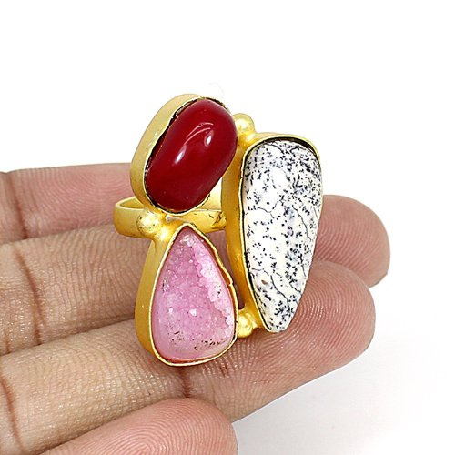 Beautiful Collection Natural Multi Gemstone Ring Brass Gold Plated Adjustable Ring Three Stone Rings Bohemian Handmade Ring