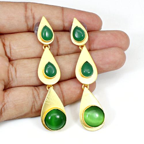 Beautifully Unique Designer Jewelry Green Onyx Gemstone Earring Vermeil Hanging Dangling Brass Wedding Anniversary Gift Earring