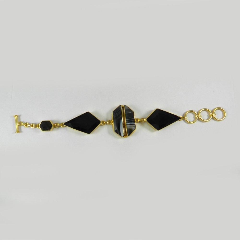 Black Banded Agate Gold Plated Designer Link Chain Bracelet