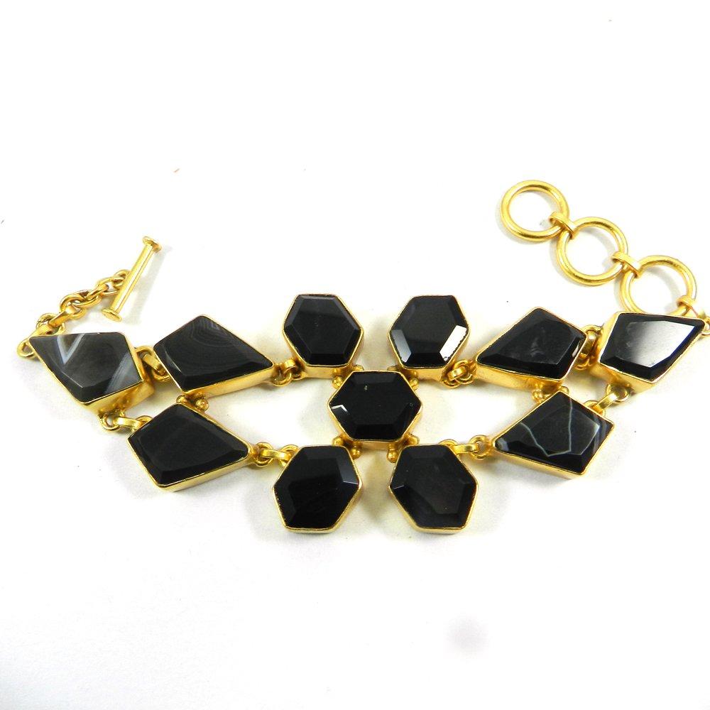 Black Banded Agate Gold Plated Link Chain Designer Bezel Bracelet