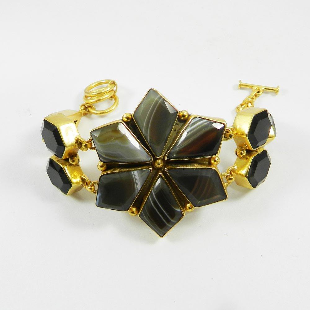 Black Banded Agate,Black Onyx Gold Plated Link Chain Designer Bracelet