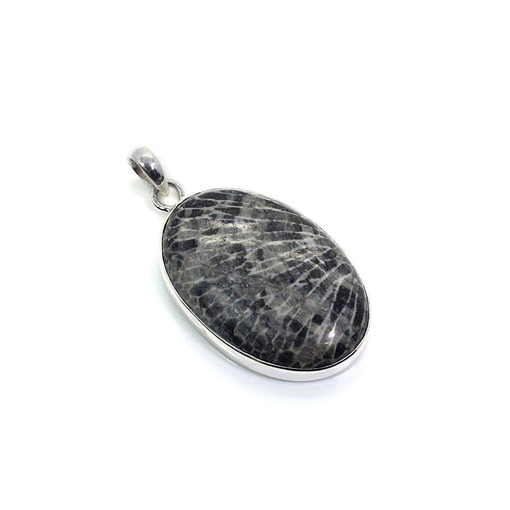 Black Coral 925 Silver Bezel Set Pendant