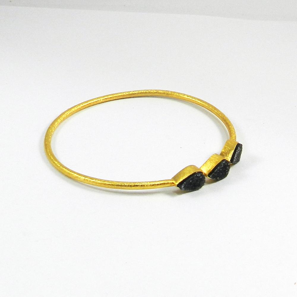Black Druzy Gemstone Gold Plated Designer Bezel Bangle
