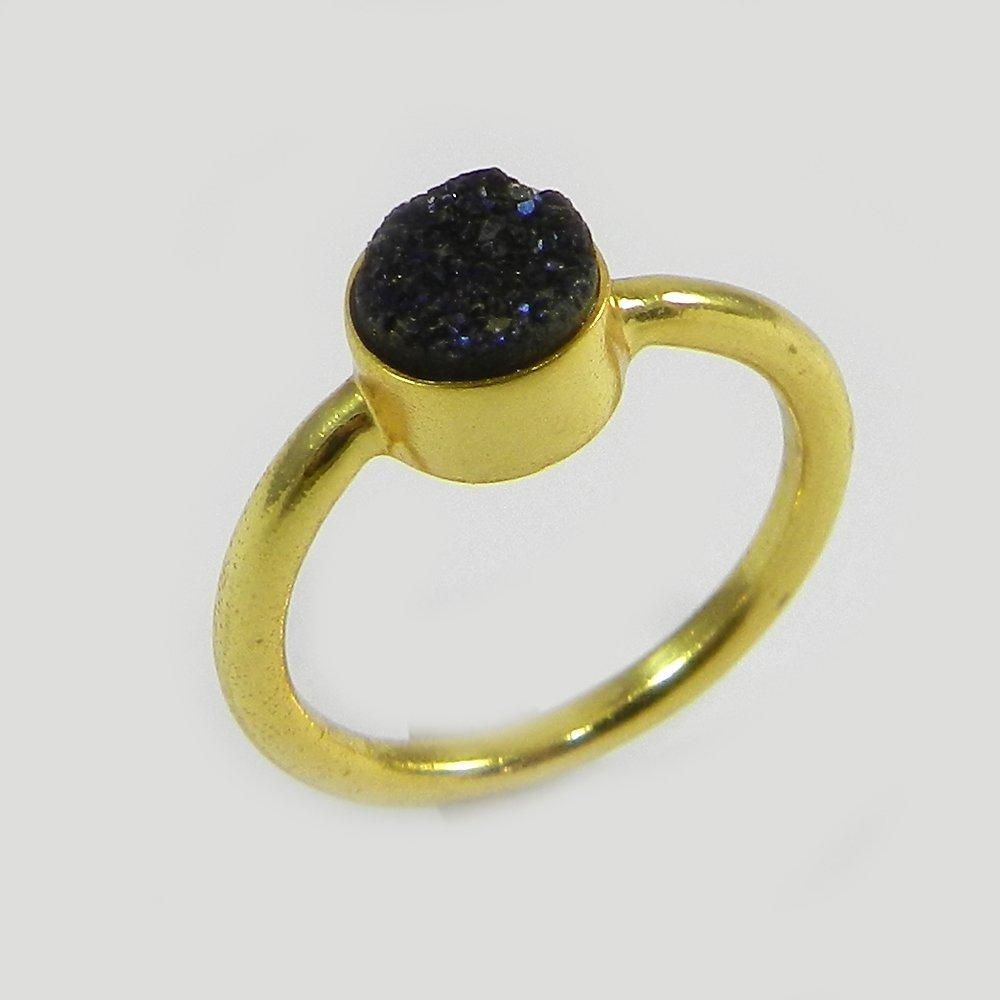 Black druzy silver bezel ring