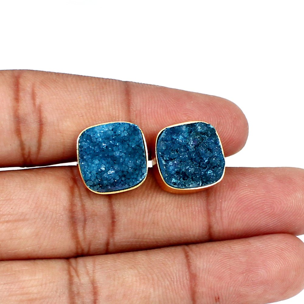 Black Friday Gift Earring White Colored Druzy Brass Gold Plated Stud Earring Women Everyday Wear Signature Earring