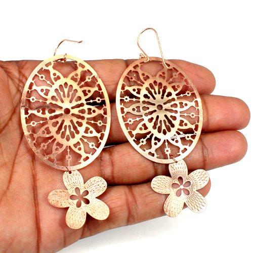 Black Friday Sale Earring Laser Cut  Drop Dangle Flower Designer Light Weight Earring Rose Gold Plated Women Statement Earring