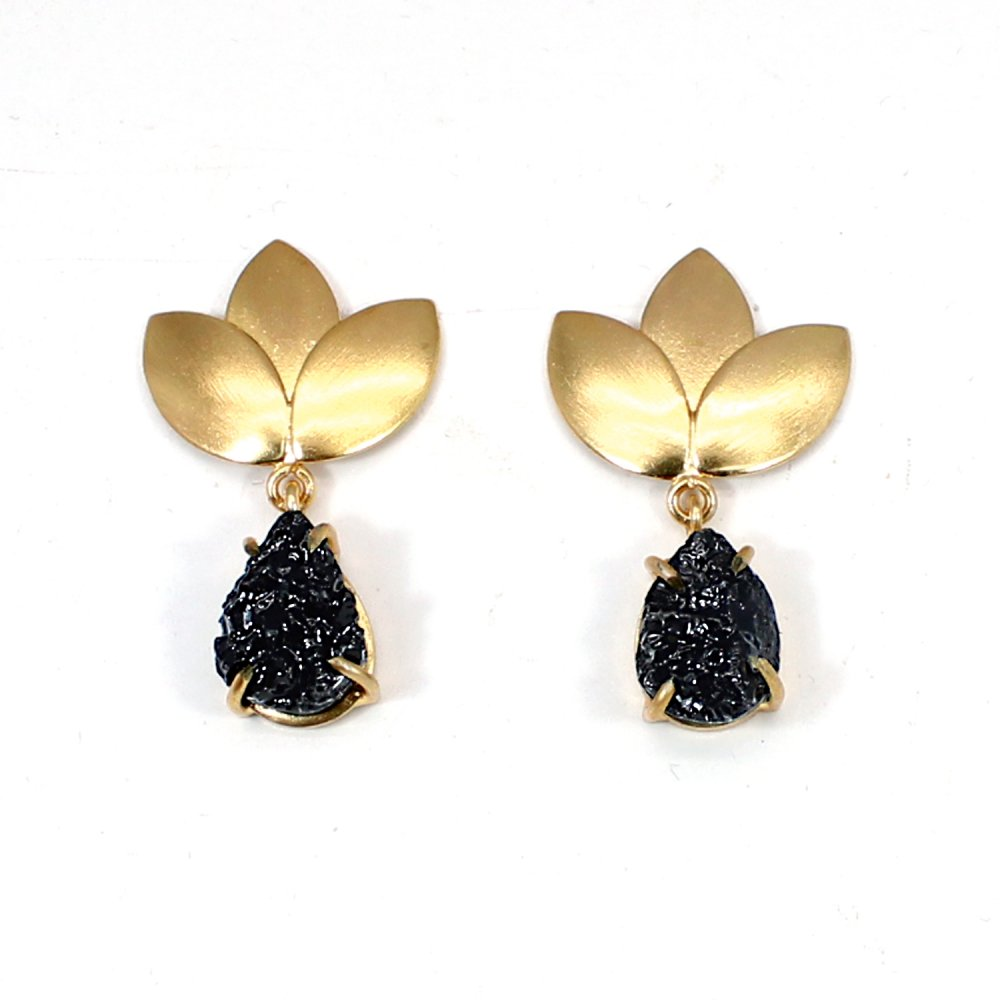 Black Friday Sale Grey Colored Druzy Gemstone Earring Brass Gold Plated Drop Earring Leaf Designer Pear Gemstone Earring