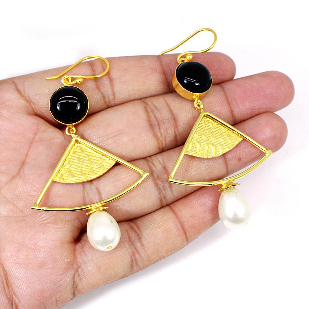Black Onyx & Pearl Gemstone Brass Vermeil  Designer Earring