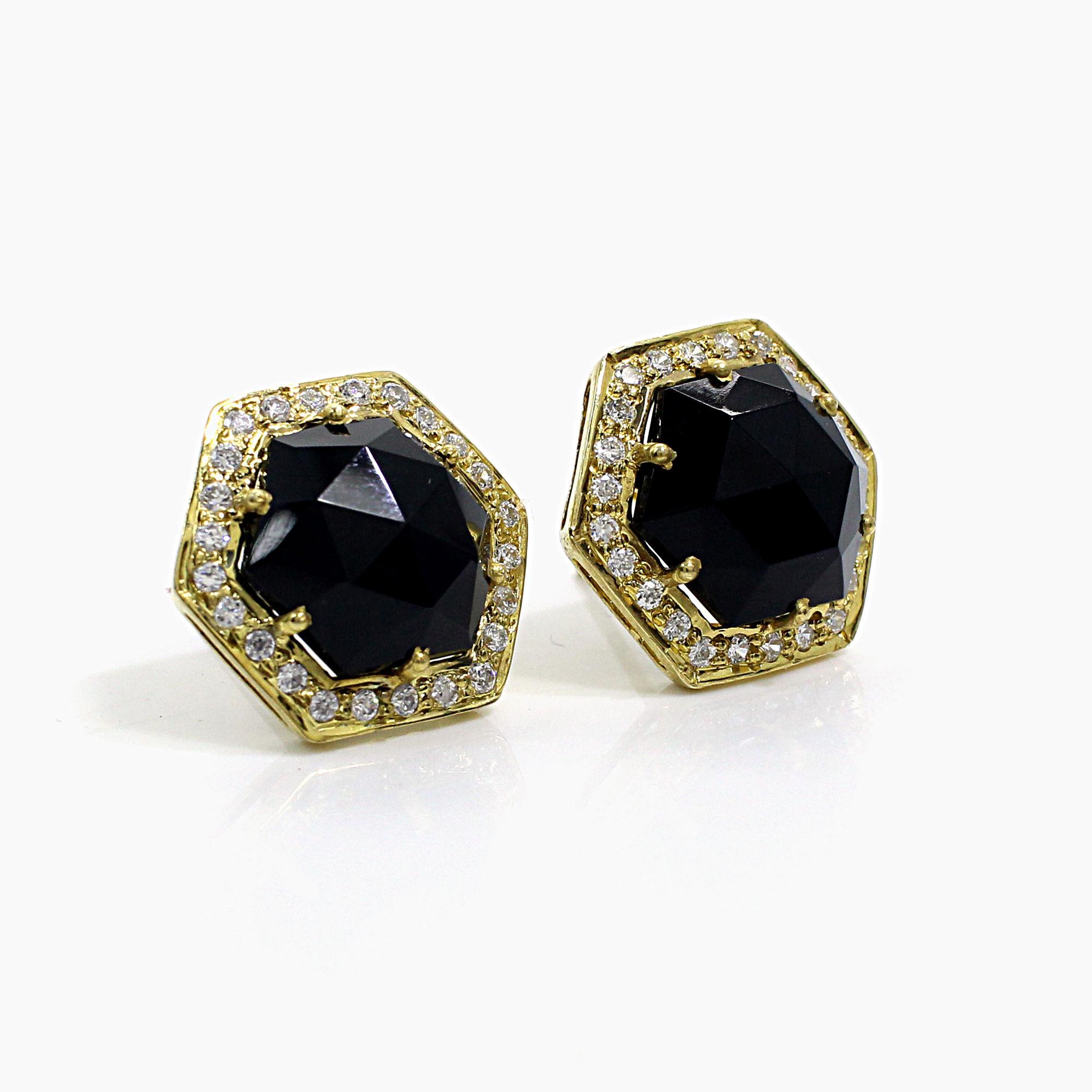 Black Onyx with CZ Silver Stud Earrings