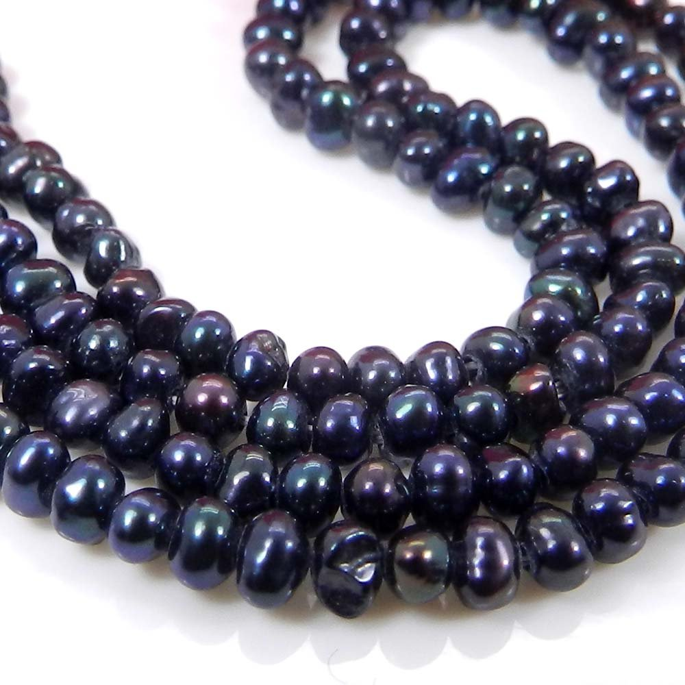 Black Pearl 3mm Uneven Smooth Gemstone Strand Beads