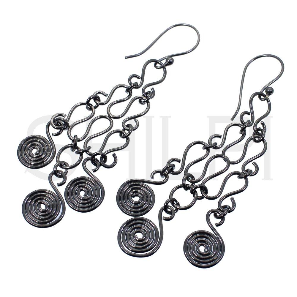 Black Ruthenium Plated Designer Handmade Chandelier Dangle Earrings