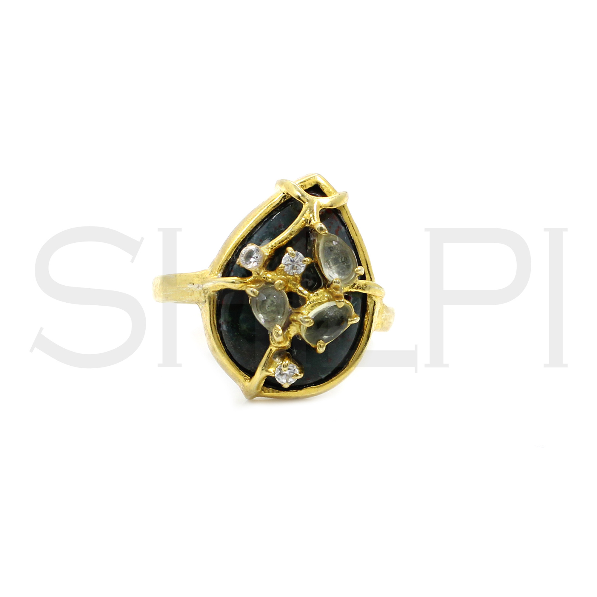 Blood Agate With Overlapping Small Stone Handcrafted Gold Plated Ring